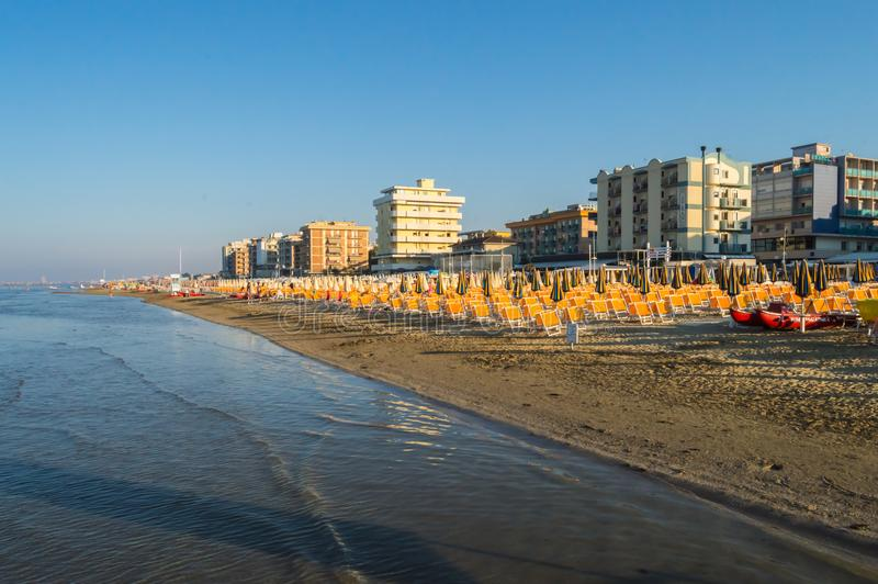 View of the beach and the town of Igea Marina on the Adriatic co. Ast of Italy near Rimini royalty free stock photo