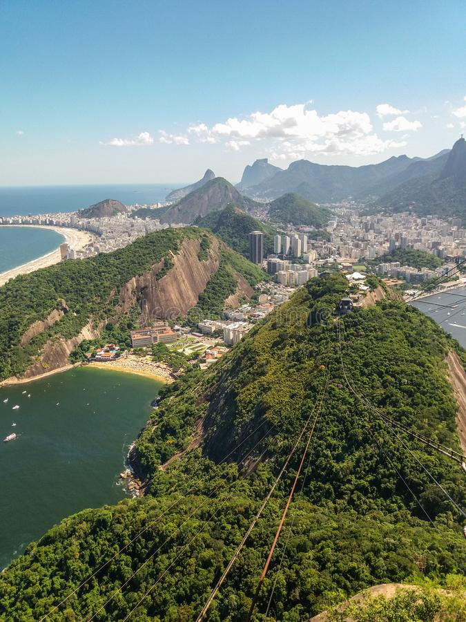 Beaches mountains and city of Rio de Janeiro in Brazil stock photos