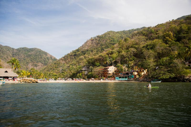 Small Fishing village on Banderas Bay. View of beaches and towns along the shore of Banderas Bay, Jalisco, Mexico stock photos