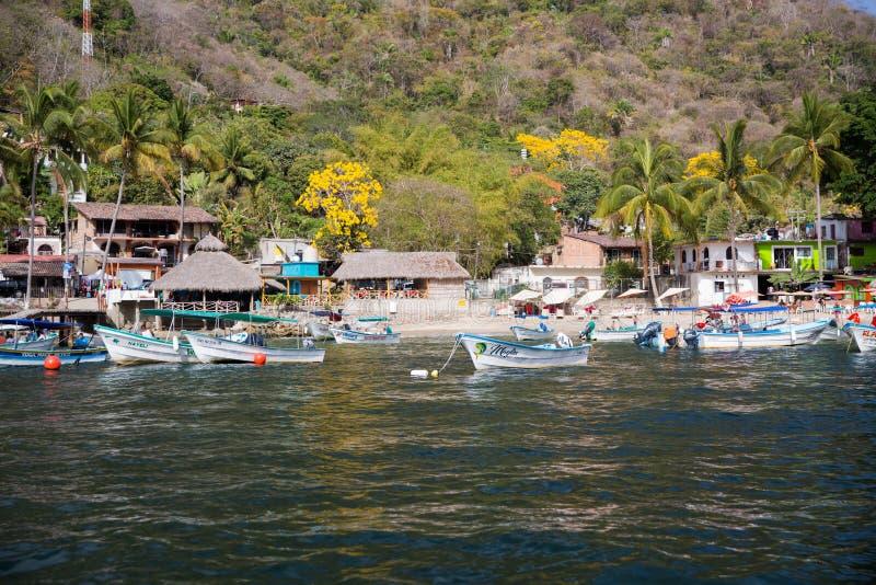 Small Fishing village on Banderas Bay stock image