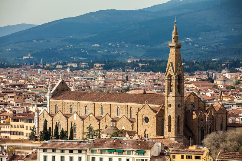 View of the Basilica di Santa Croce and the city of Florence from Michelangelo Square royalty free stock image