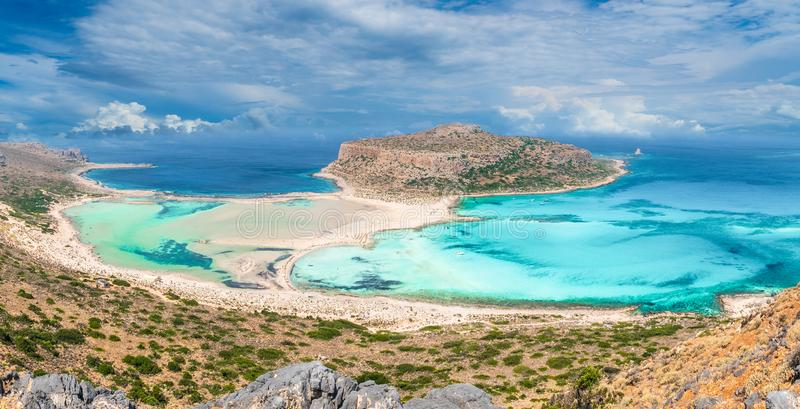View of beautiful beach in Balos Lagoon, and Gramvousa island on Crete, Greece stock photography