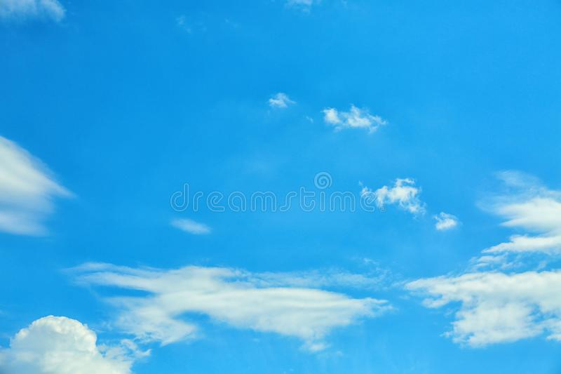 View of beautiful blue sky with fluffy clouds stock image