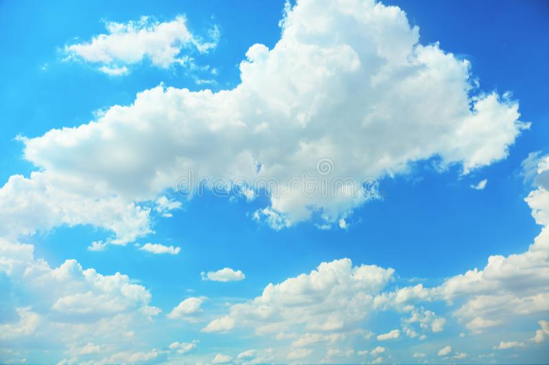 View of beautiful blue sky with fluffy clouds royalty free stock image