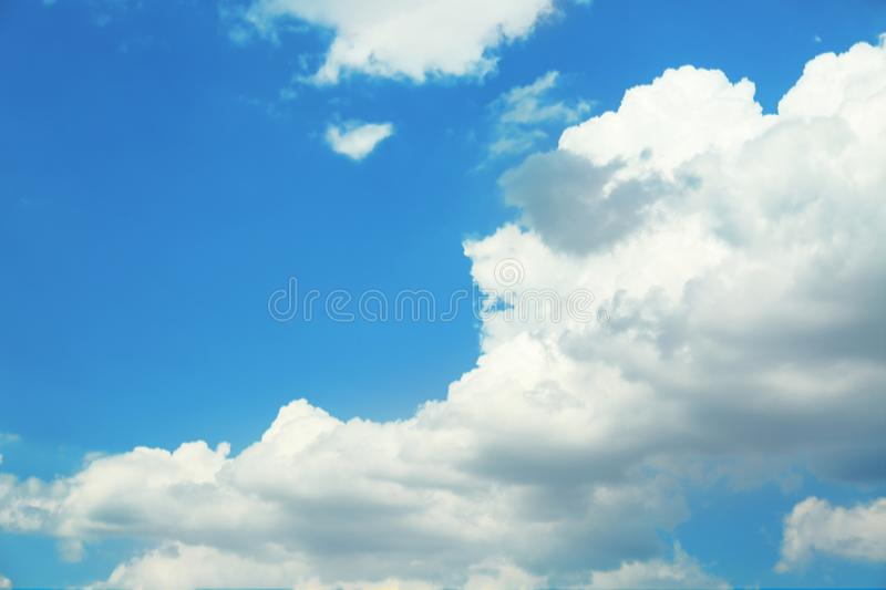 View of beautiful blue sky with fluffy clouds royalty free stock images