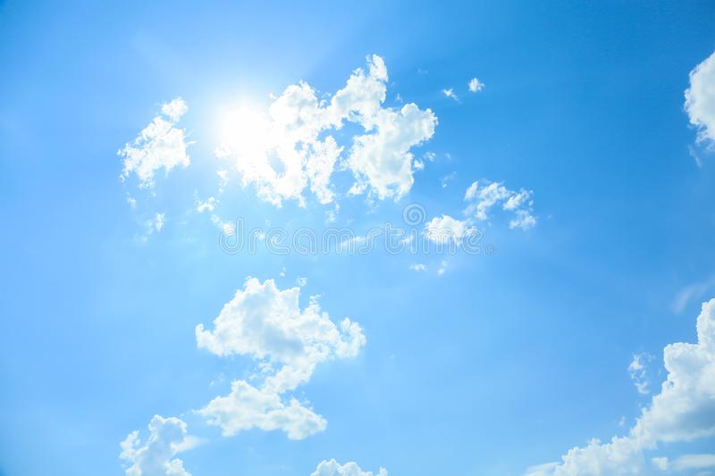 View of beautiful blue sky with fluffy clouds royalty free stock photography