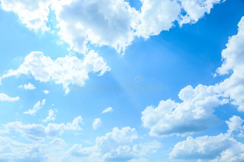 View of beautiful blue sky with fluffy clouds royalty free stock photo
