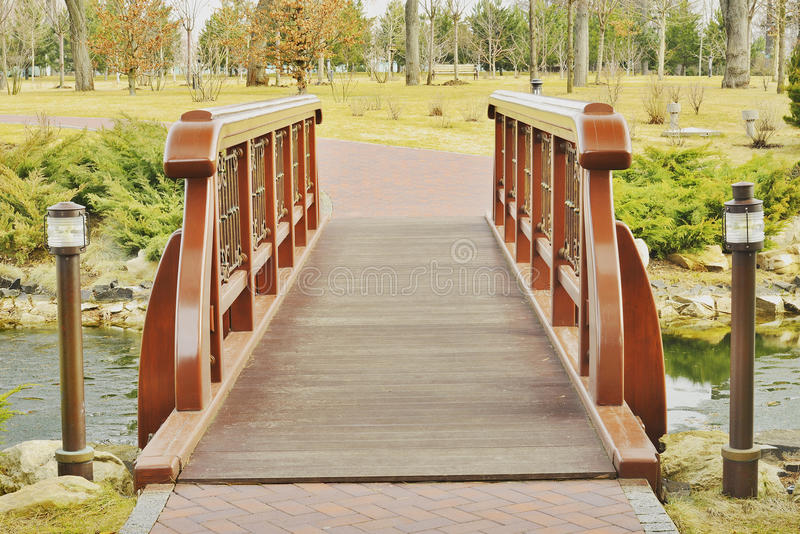 View of the beautiful bridge over the lake stock photos