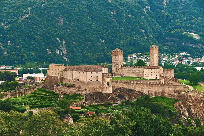 View of beautiful city of Bellinzona in Switzerland with Castelgrande castle from Montebello stock image