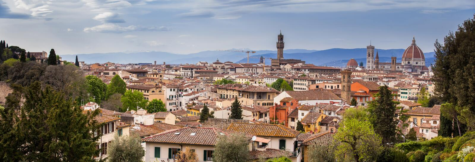 View of the beautiful city of Florence from the Giardino delle rose in an early spring day royalty free stock photos