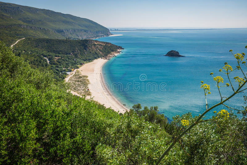 View of the beautiful coastal landscapes of the Arrabida region. Located on Setubal, Portugal royalty free stock photos