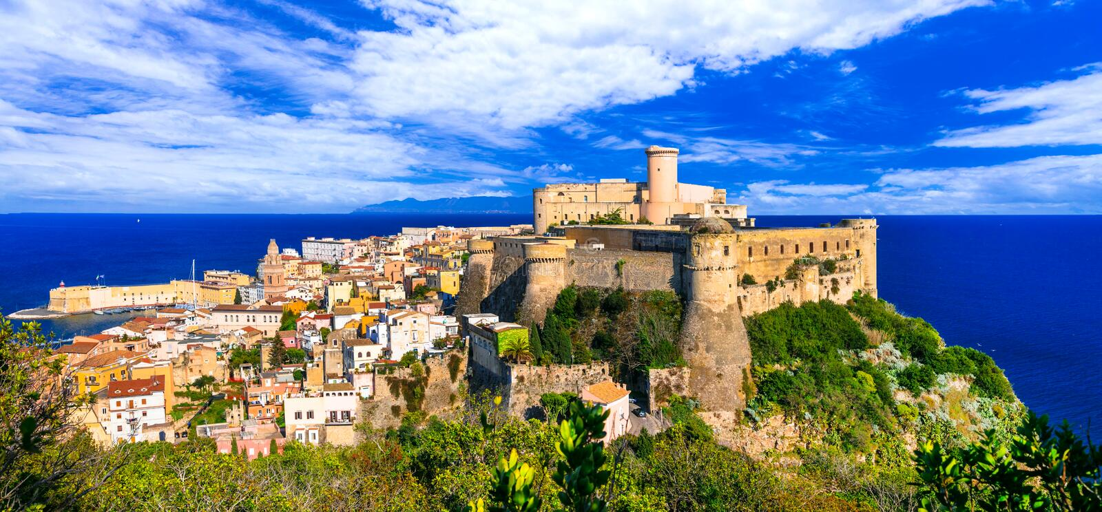 View of beautiful coastal town Gaeta with Aragonese castle. Land royalty free stock image