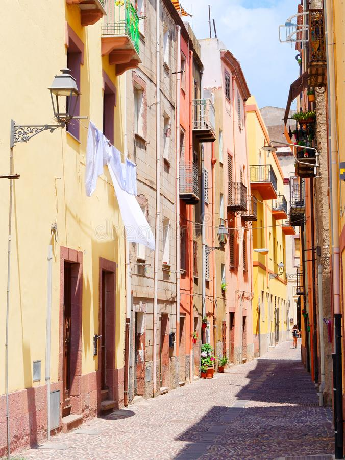 View of the beautiful, colorful, narrow street in Bosa. province of Oristano, Sardinia, royalty free stock images