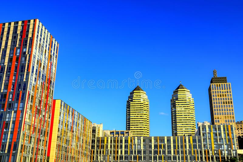 View of the beautiful, high towers and skyscrapers in the center of the Dnipro city royalty free stock images