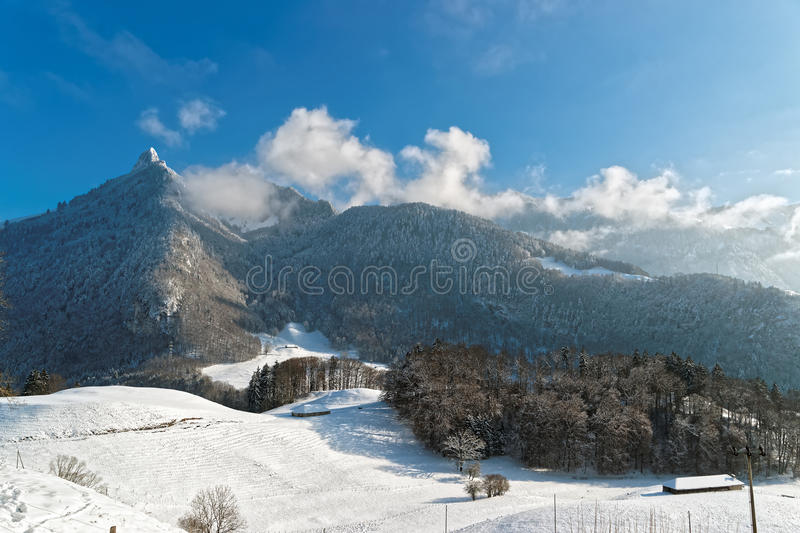 View of the beautiful hills near the castle of Gruyeres. With the snow-covered trees under the clear sky and Swiss Alps in the background stock image