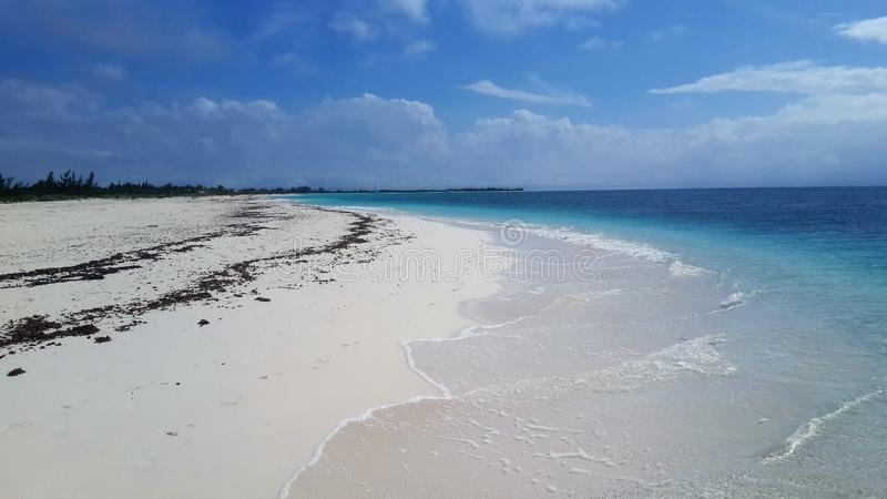 View of a beautiful isolated beach with white sand in Cuba. royalty free stock photo