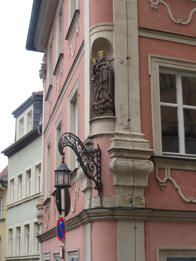 View of the beautiful lantern and bas-relief on the building stock photography