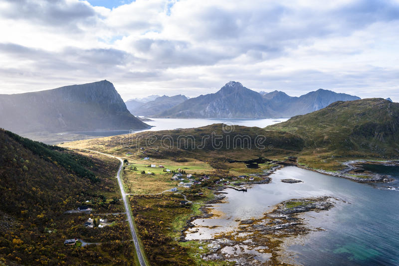view of Beautiful mountain landscape with Norwegian sea at holandsmelen, lofoten, Norway royalty free stock photo