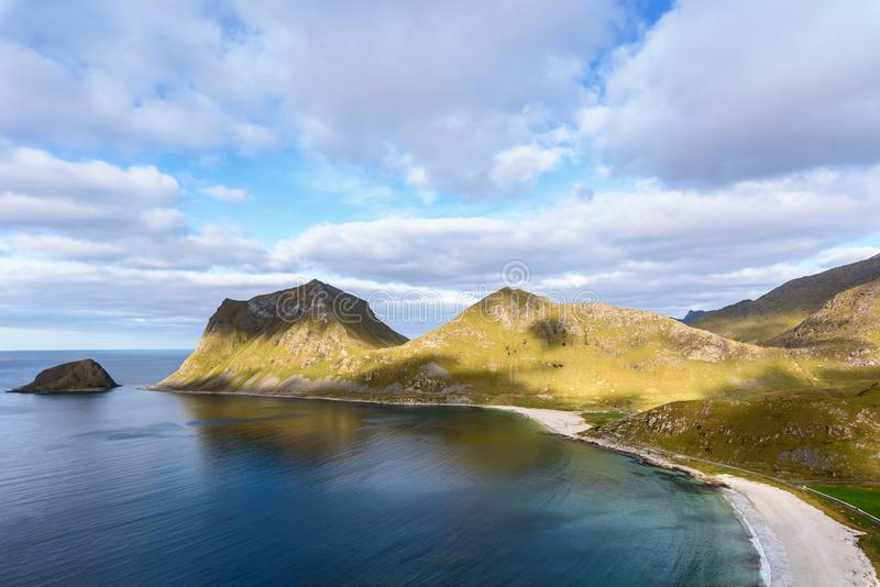 view of Beautiful mountain landscape with Norwegian sea at holandsmelen, lofoten, Norway royalty free stock photos