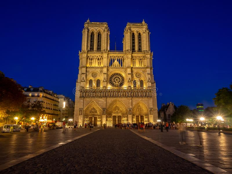 View of the beautiful Notre Dame church at night royalty free stock photography