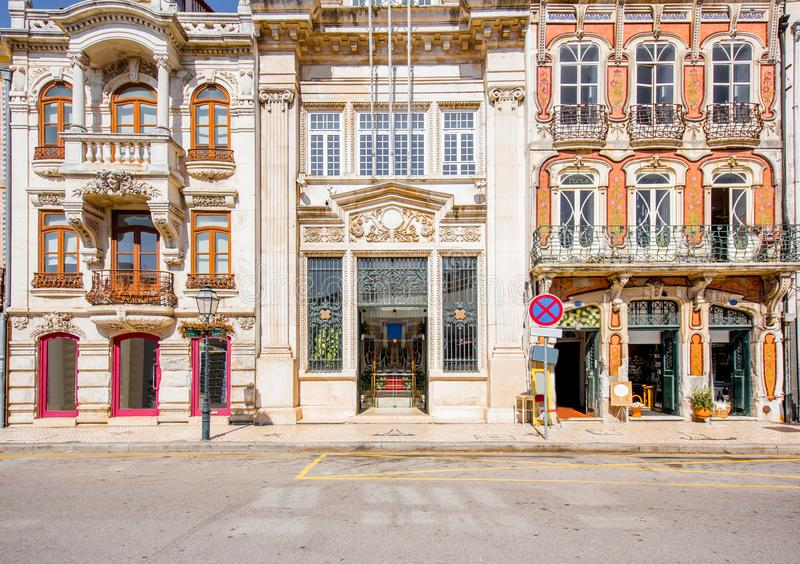 Aveiro city in Portugal. View on the beautiful old facades buildings in Art Nouveau architectural style in Aveiro city in Portugal stock images