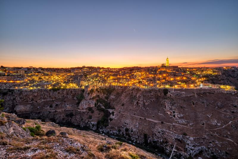 View of the beautiful old town of Matera stock photos