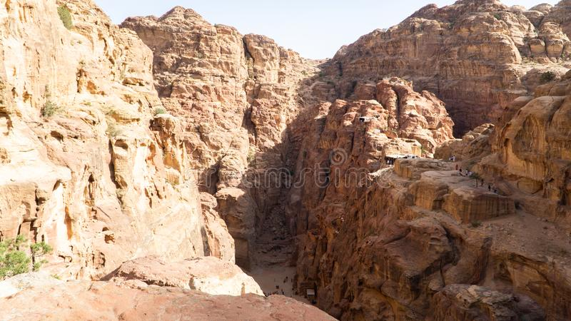 View of beautiful Prehistoric Rock Carved City Petra, UNESCO World Heritage, sandstone mountains, Jordan royalty free stock photography
