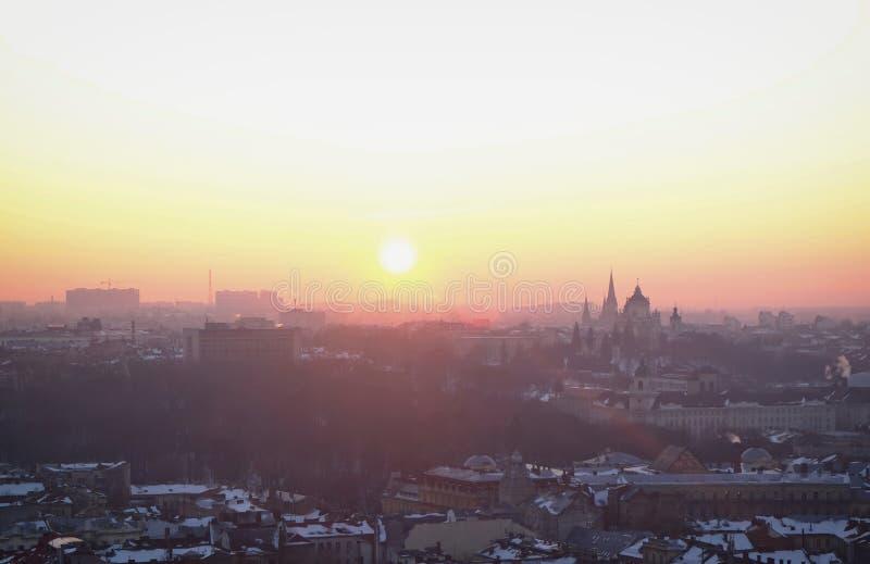 View of beautiful resort city. At sunset stock photo