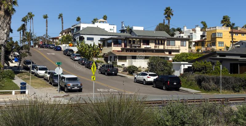 View of the beautiful street in Carlsbad. CARLSBAD, CA, UNITED STATES - NOVEMBER 09,2016: View of the beautiful street at the of Carlsbad,California,United royalty free stock photography