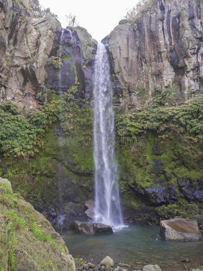 View of the beautiful and tall waterfall in Salto da Farinha, Sao Miguel, Azores, Portugal stock image