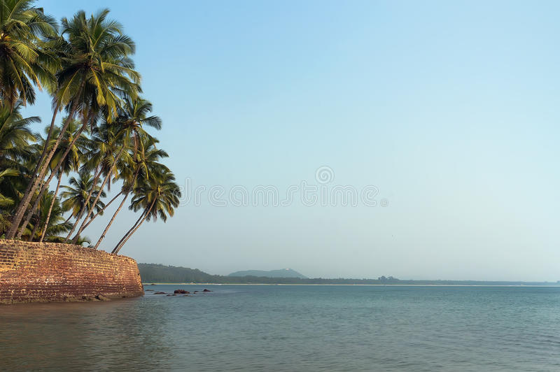 View of beautiful tropical deserted beach. The beach in South Goa stock photography
