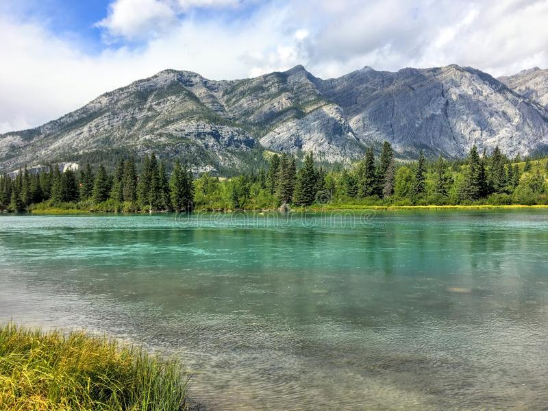 A view of the beautiful turquoise bow river flowing with the Rocky Mountains of kananaskis behind it and reflecting in the water. stock photography