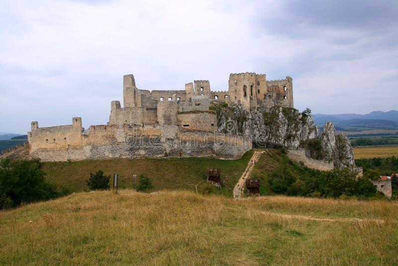 View on Beckov ruins, slovakia stock photos