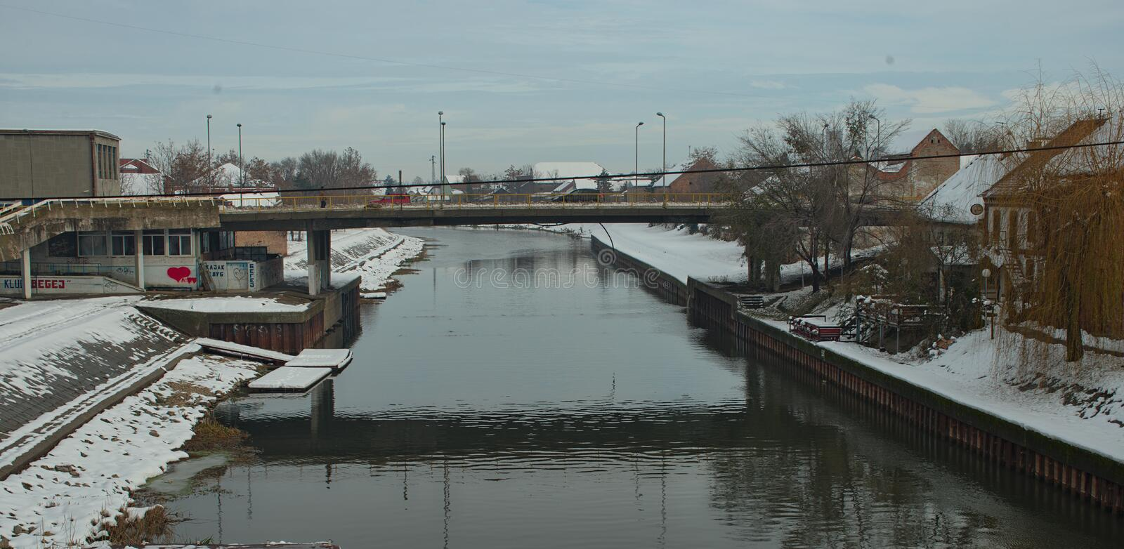 View on Begej river in Zrenjanin, Serbia during winter time.  royalty free stock photos