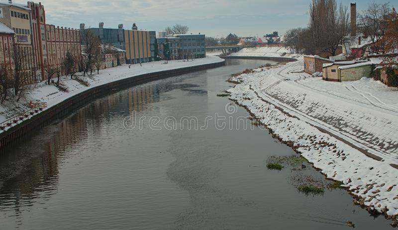 View on Begej river in Zrenjanin, Serbia during winter time.  stock photography