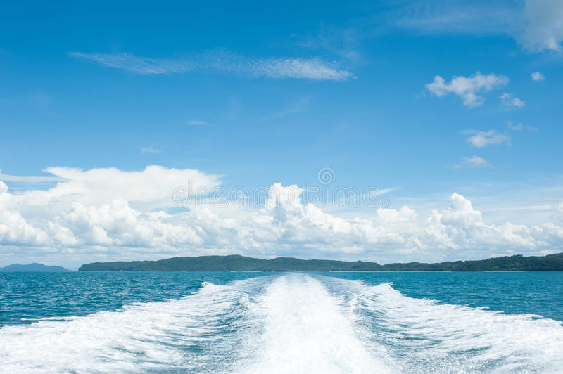 View behind the speed boat. Sea of Thailand stock photography