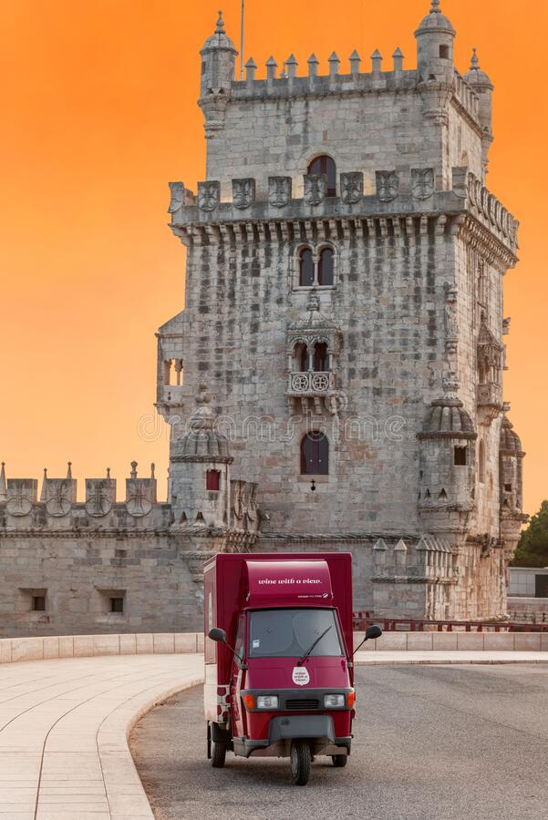 View on Belem Tower at sunset. Lisboa, Portugal stock photos