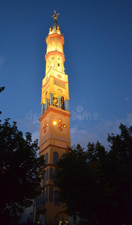 View of the bell tower of the Church of Our Lady of Suffrage and Santa Zita royalty free stock photo