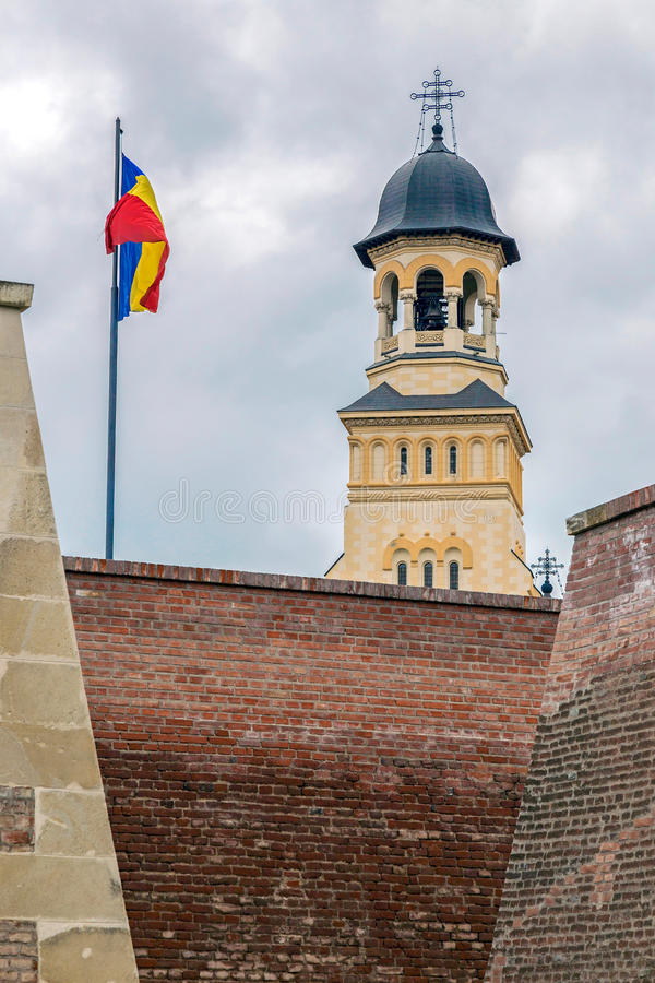 View with Bell tower from Coronation Cathedral in Alba Iulia cit. View with Bell tower from Coronation Reunification Cathedral in Alba Iulia city, Transylvania royalty free stock photography