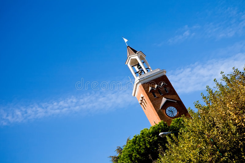 View of bell tower in Gaeta, Italy stock photography