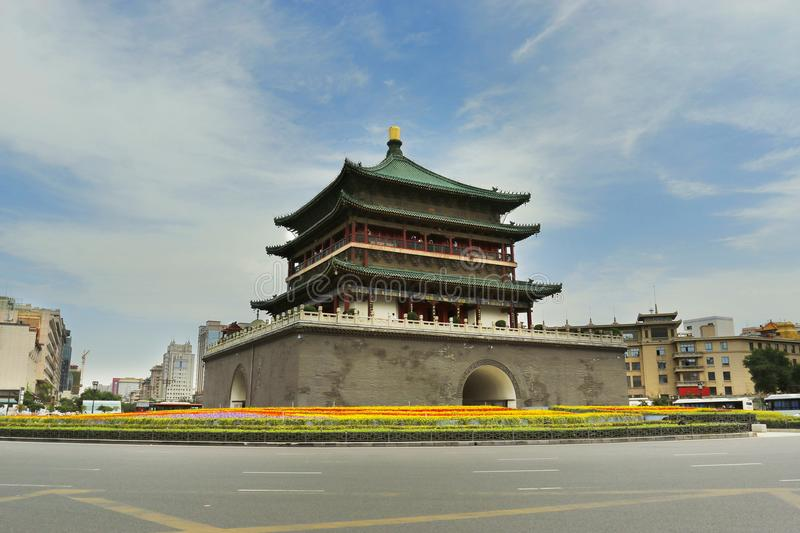 Bell tower of the old city wall of xi an ,Shanxi ,china royalty free stock image