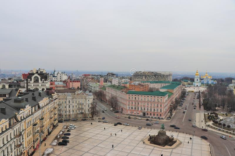Panoramic view of Kiev. With the monastery of St. Michael in the background. stock image