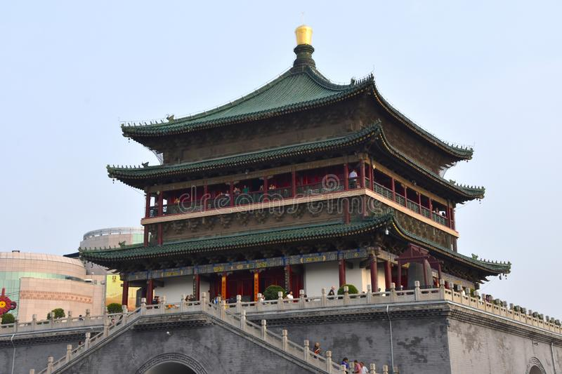 View of the Bell Tower of Xian, China. View of the Bell Tower of Xian, Shaanxi Province, China, Asia royalty free stock images