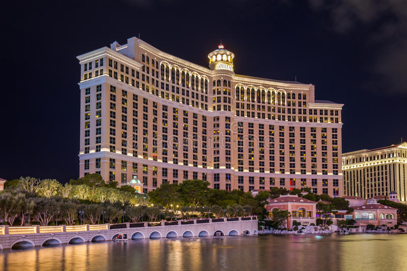 View Of Bellagio Hotels And Casino At Night LAS VEGAS USA