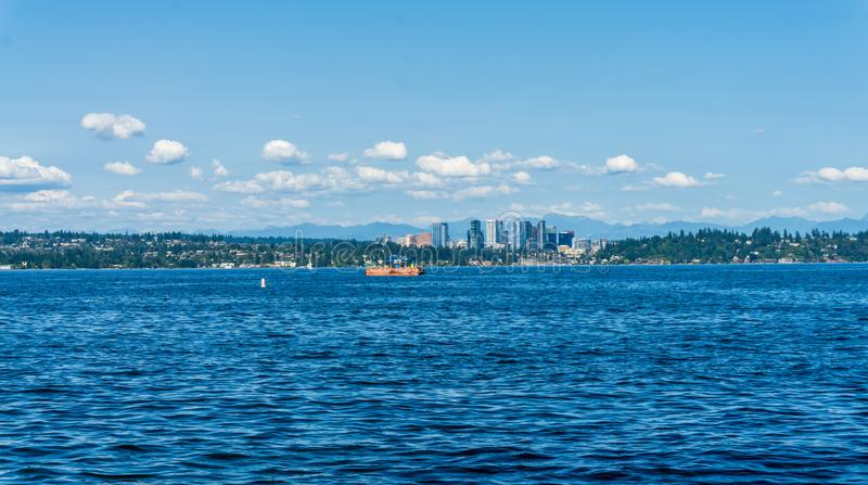 Bellevue Skyline And Lake. A view of the Bellevue, Washington skyline and Lake Washington royalty free stock image