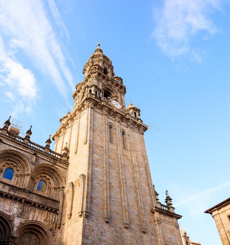 View of the belltower of the Santiago cathedral. Called North Tower or da Carraca. Spain stock image
