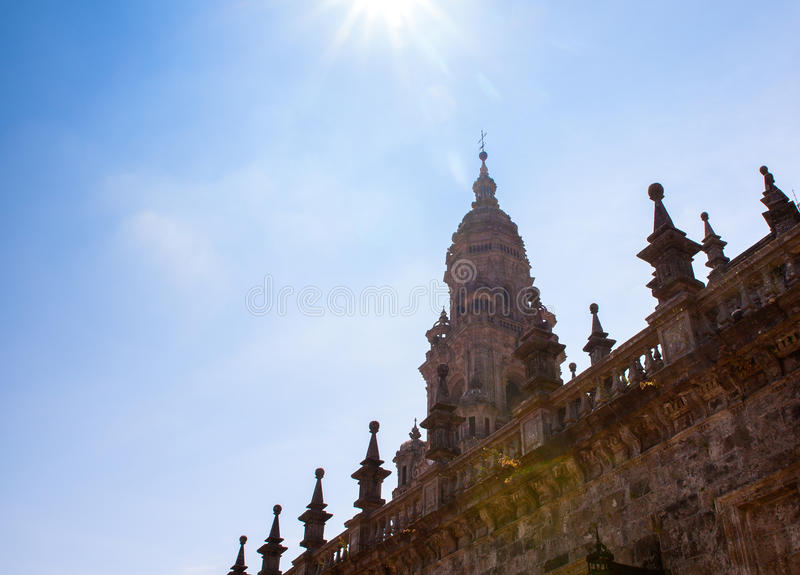 View of the belltower of the Santiago cathedral. Called North Tower or da Carraca. Spain stock photos