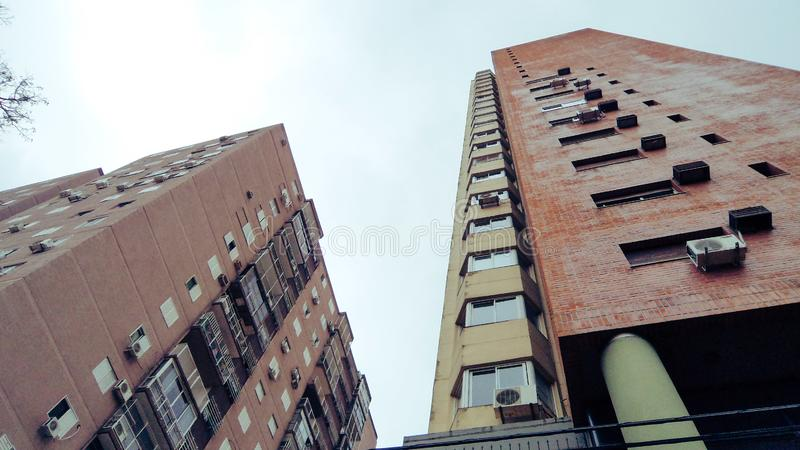 View from below of some buildings royalty free stock photos
