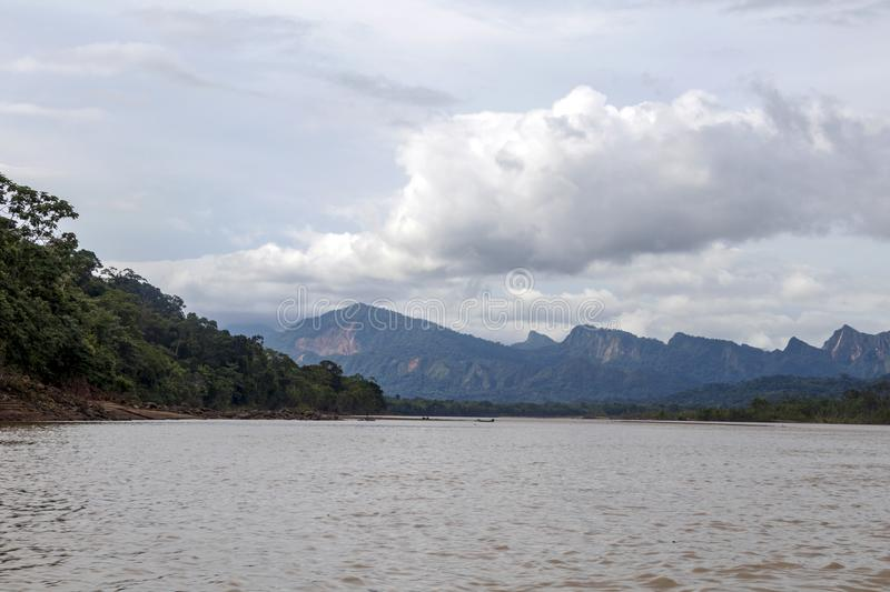 View of Beni river and rainforest of Madidi national park in the upper Amazon river basin in Bolivia, South America stock images
