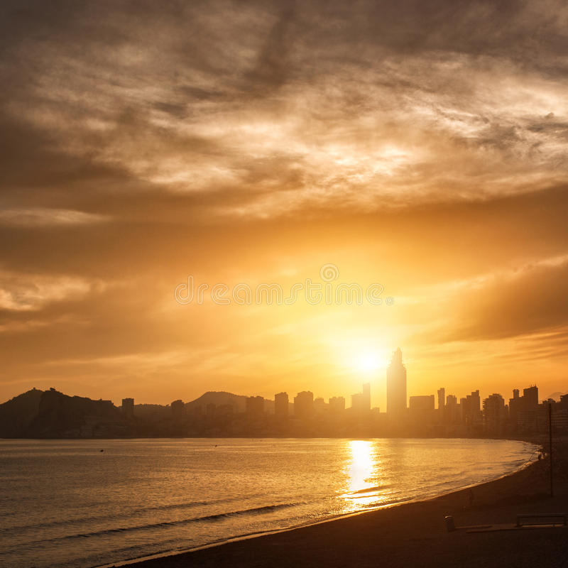 Download View Of Benidorm On Sunset, Spain Stock Photo - Image: 37480014